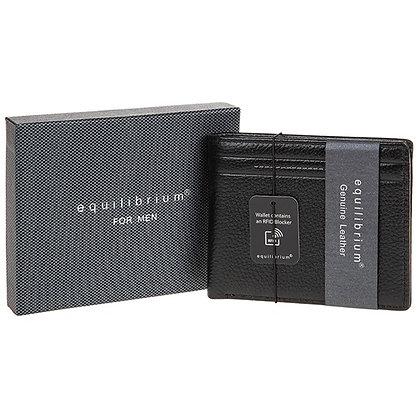 Black Debossed Leather Men's Wallet