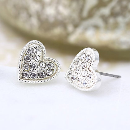 Silver plated heart and crystal stud earrings 03222
