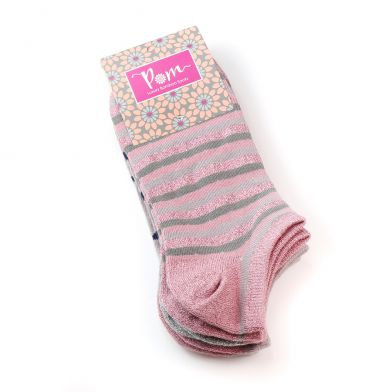 Pink mix bamboo trainer sock trio with stripes