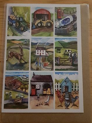 Lizzie Spikes Driftwood designs card - Ffermio