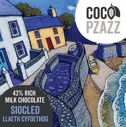 Coco Pzazz -Siocled Llaeth Cyfoethog / 43% Rich Milk Chocolate Bar 80g