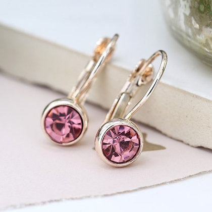 Rose gold plated and pink crystal drop earrings 03299