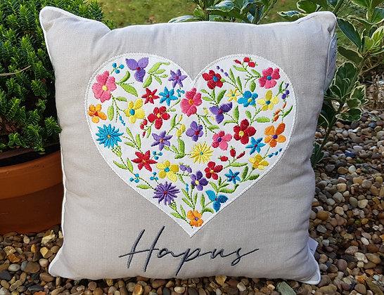 Welsh Hapus (happy) floral heart cushion
