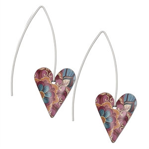 Kate HH Studio Tiger Lily  Long Round Heart Earrings