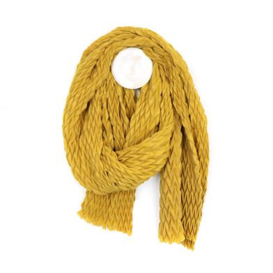 Mustard yellow soft scarf with zig-zag pleated texture