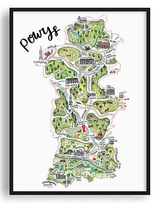Powys Illustrated Map Print by Megan Tucker