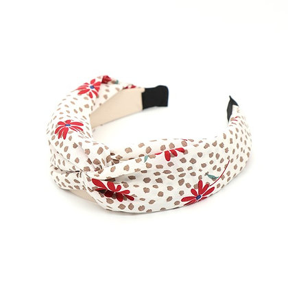 Cream fabric headband with taupe dot print and red flowers