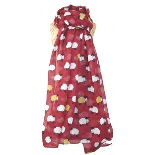 Sheep Herd Scarf - burgundy