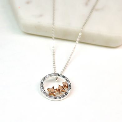 Silver Plated Hoop Rose Gold Stars Necklace 02612