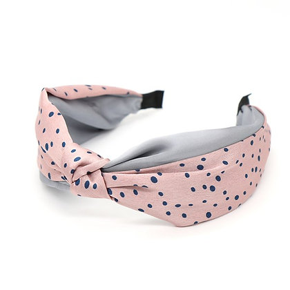 Pink and grey silky headband with blue dot print