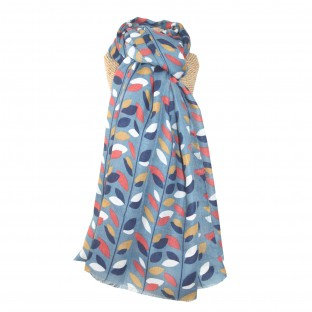 Colourful Leaves Scarf - Blue