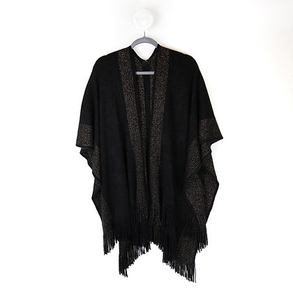 Black knitted winter wrap with metallic gold stripes