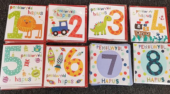 Cardiau Cymraeg  Penblwydd Hapus Bachgen 1 - 8 Happy  Birthday Cards