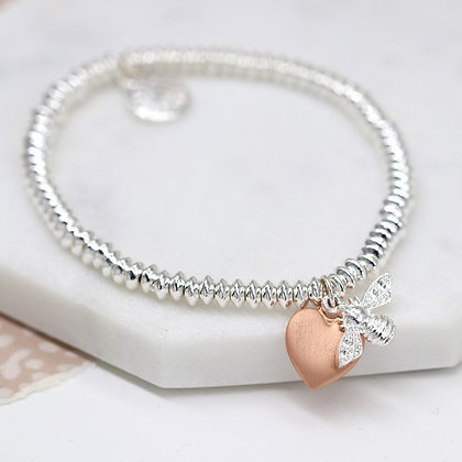 Silver plated bead bracelet with rose gold heart and silver bee 03272