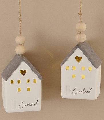 Welsh LED Ceramic House - Cariad/Cartref