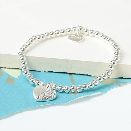 Silver plated brushed heart bracelet half inset with crystals