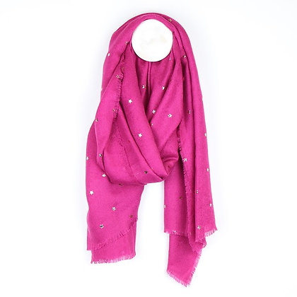 Vibrant pink loose weave scarf with rose gold stars 51559