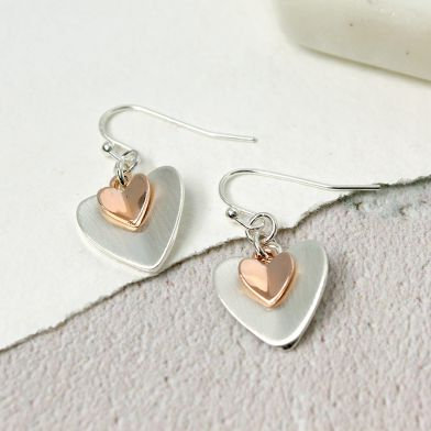 POM Silver Plated Rose Gold Folded Hearts Earrings