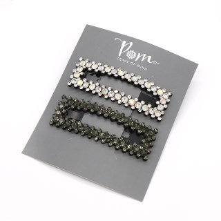 Grey and white double rectangle hairclip set