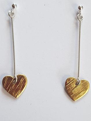 Kate HH Studio Long Drop Brass Heart Earrings