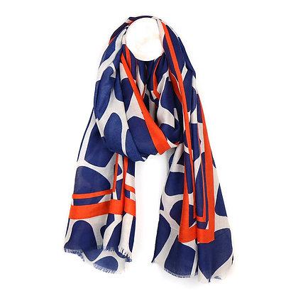 Vibrant blue and orange  graphic print scarf