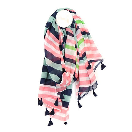 Cotton scarf with pink, blue and lime green stripes
