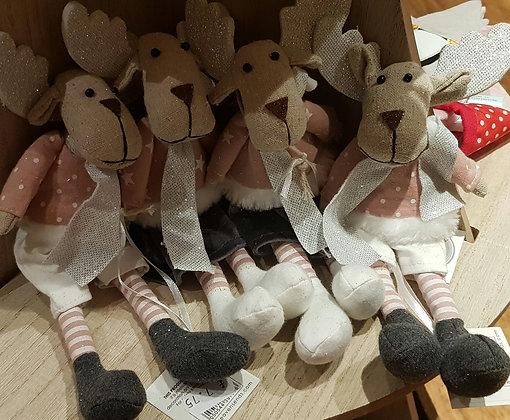 Pink n  Grey Reindeer - choice of 2
