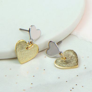 POM Silver and gold plated double heart earrings