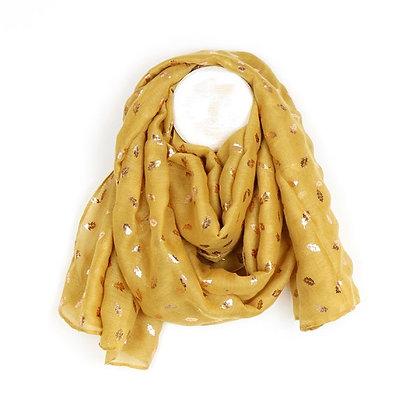 Mustard scarf with metallic rose gold oak leaf print