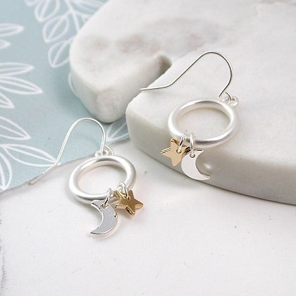 Silver plated worn hoop earrings with moon and golden star - 3004