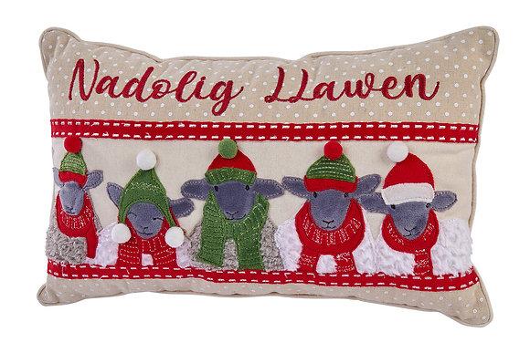 Welsh Nadolig Llawen sheep cushion