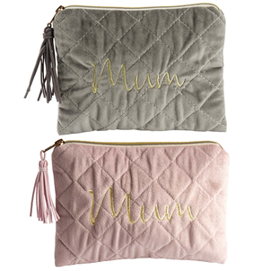 Lily Loves- Mum quilted velvet make-up bag - choice of 2