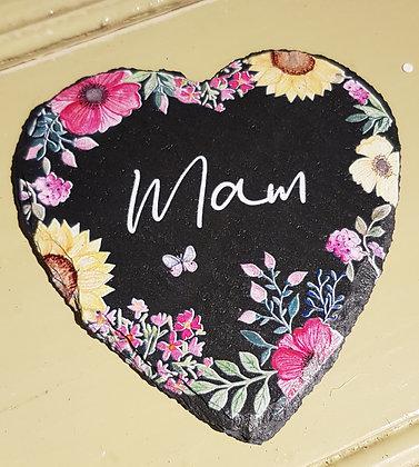Calon Llechen/Welsh Heart Slate Coaster