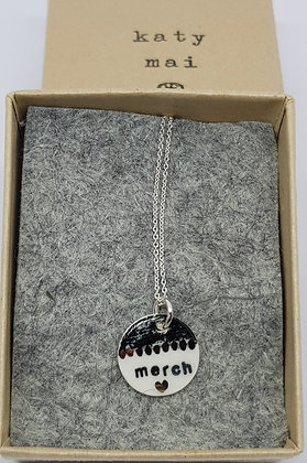 Katy Mai - Mwclis Cymraeg Mini Crwn /Mini Round Welsh Necklace - Merch
