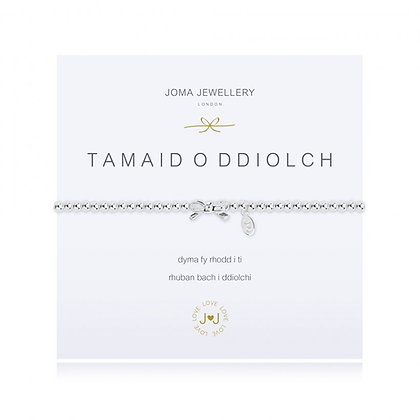 Joma Jewellery A LITTLE TAMAID O DDIOLCH (THANK YOU BRACELET) (WELSH)