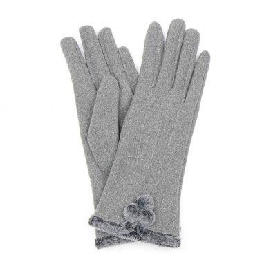 Grey gloves with pom-pom detail