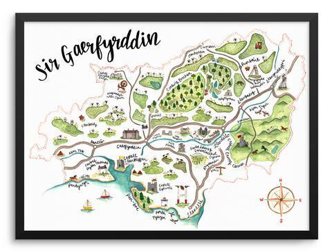 Sir Gaerfyrddin Illustrated Map Print by Megan Tucker