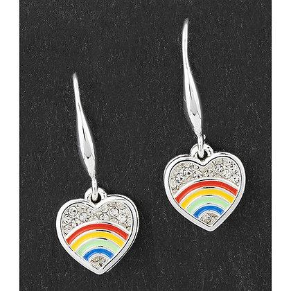 Colourful Rainbow Silver Plated Sparkle Disk Earrings