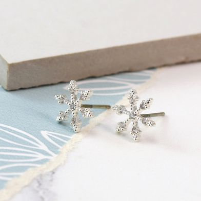 Silver plated snowflake stud earrings with crystals