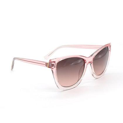 Blush pink translucent wayfarer sunglasses