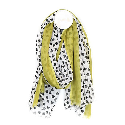Cotton scarf in white with black heart print and lime stripe