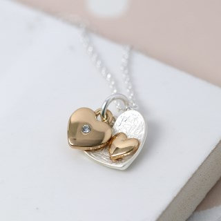 Silver and gold plated double heart charm necklace 02699