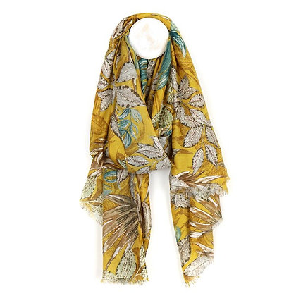 Mustard yellow botanical print scarf with gold detail