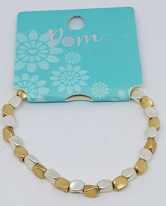 Metallic Matt Gold and Silver Nugget Bracelet