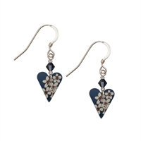Kate HH Studio Jasmine Slim Heart Earrings & Crystal