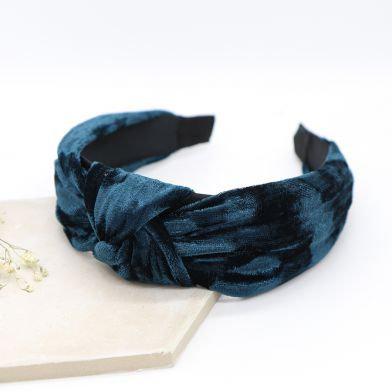 Teal Blue velvet fabric headband