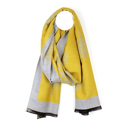 Mustard and grey reversible jacquard tree scarf