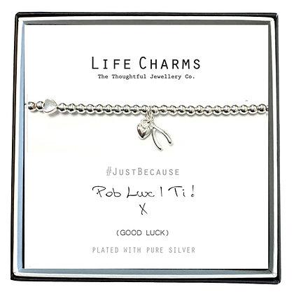 Life Charms Silver Plated Bracelet - Pob Lwc i ti