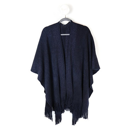 Blue knitted winter wrap with metallic stripes