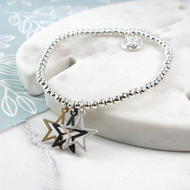Triple Star Mixed Finish Bracelet